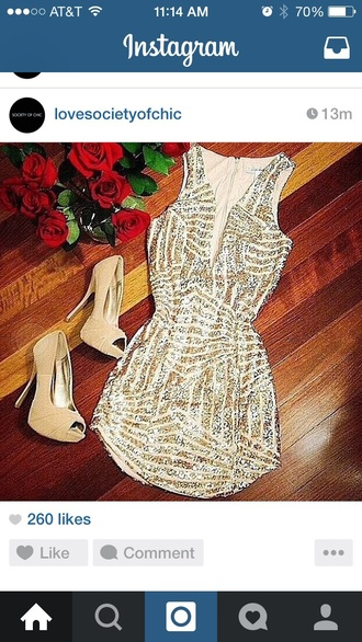 dress sequin dress low cut dress gold sequins silver sequin dress elegant dress sexy dress style nude high heels