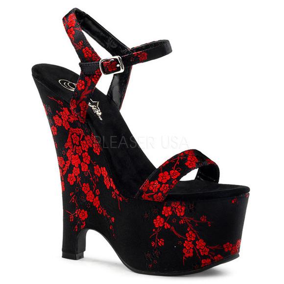 shoes wedge heel wedges kimono chinese oriental redheels
