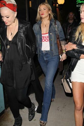 jeans top spring outfits streetstyle kate hudson denim jacket denim spring jacket