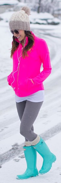 jacket hot pink track running white tank top dress grey leggings turquoise rain boots rainboots leg warmers ribbed knitwear knit cable knit beanie pom pom pom tan beige winter outfits spring 2015 hat shoes socks stylegasms rainboot wellies mint leg warmers hot pink workout