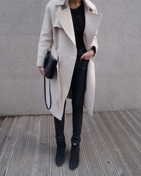 jacket bag beige winter outfits boots wool fall outfits warm outerwear cream pants leggings coat fashion creme colored trench coat leather pants all black coat, warm, white, winter, nice, cold weather, jacket long coat long coats nude nude coat creme mini bag handbag Belt creme jacket fall outfits petticoat trench coat