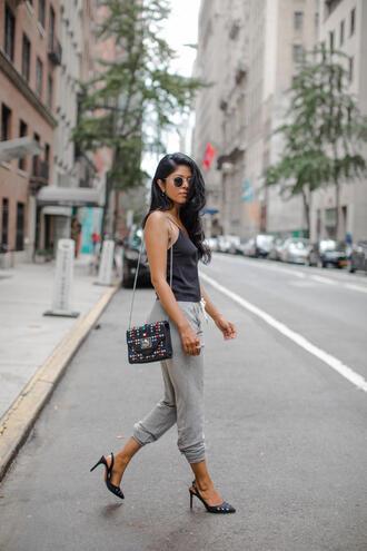 top tumblr black top camisole bag pants grey pants sweatpants sandals sandal heels high heel sandals slingbacks