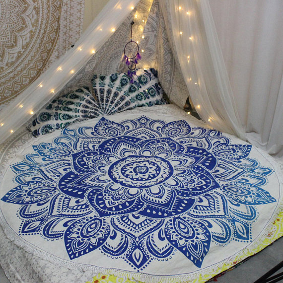 Mandala Tapestry Round Beach Blanket Lotus Mandala Roundie Beach Throw Floral Tapestry Blanket Bohemian Tapestry Hippie Blanket throw decor