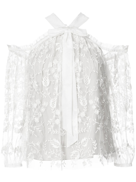 Needle & Thread blouse embroidered women lace white top