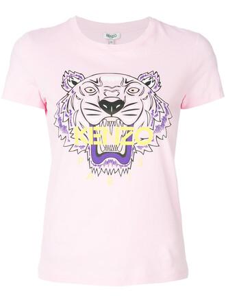 t-shirt shirt women tiger cotton purple pink top