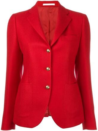 blazer women wool red jacket