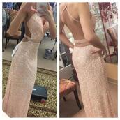 dress,long prom dress,pink,sparkly dress,open back,sexy prom dress,casual,formal dress,spaghetti strap,prom dress,mermaid prom dress,champagne,champagne dress,champagne prom dress,backless prom dress,sequin prom dress,evening dress,long evening dress,evening outfits,formal event outfit,sexy dress,sequin dress,gold sequins dress,prom dress 2016