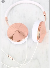earphones,rose gold,white,spiked,shiny