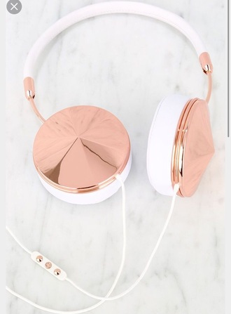 earphones rose gold white spiked shiny