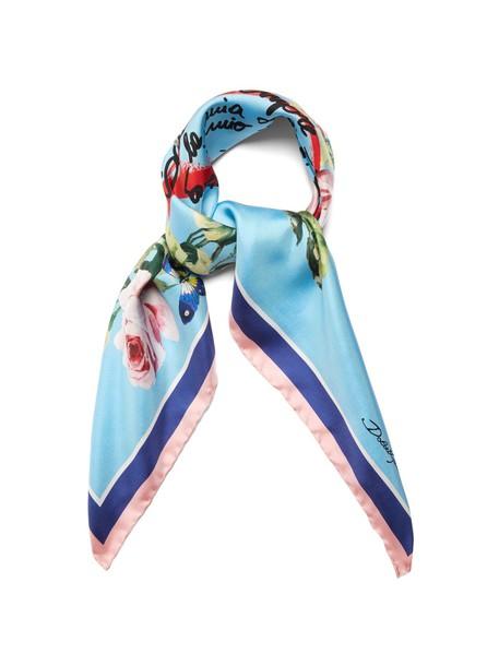 Dolce & Gabbana rose scarf silk scarf print silk blue