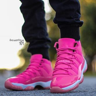shoes air jordan pink sneakers black pants pink sneakers high top sneakers jordans 11 retro