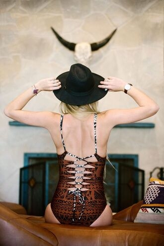 swimwear bikini boho boho chic one piece swimsuit resort 2014 back detailed swimwear back detail lace up back print swimsuit navajo gypsy native cheeky fedora felt hat black hat