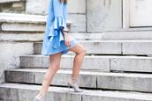dress,bell sleeve dress,bell sleeves,mini dress,summer dress,summer outfits,blue dress,sandals,sandal heels,high heel sandals,blue sandals,All blue outfit,all blue
