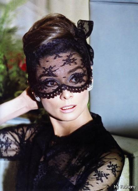 hair accessory mask black audrey hepburn hubert de givenchy