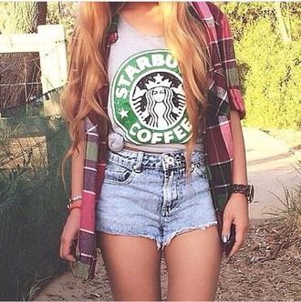 shirt green starbucks logo we heart it pretty as fuck grey top