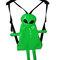 Pvc green/silver metallic alien backpack clubkids cyber style