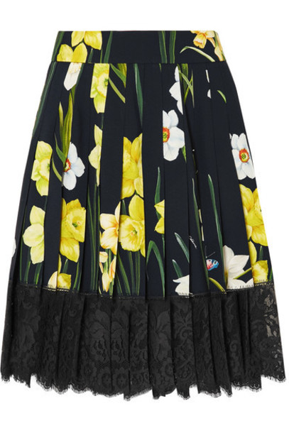 Dolce & Gabbana - Lace-trimmed Pleated Floral-print Crepe Mini Skirt - Black