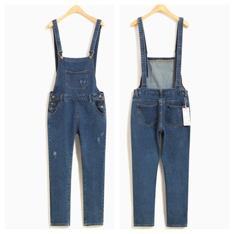 Dark blue boyfriend denim overalls