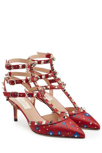 heel pumps leather multicolor shoes