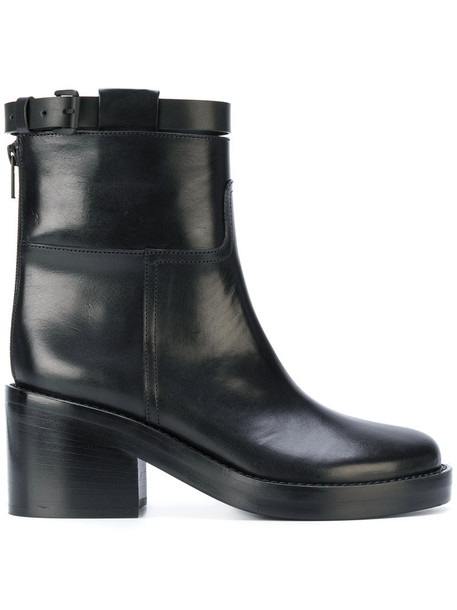 ANN DEMEULEMEESTER heel chunky heel women boots ankle boots leather black shoes