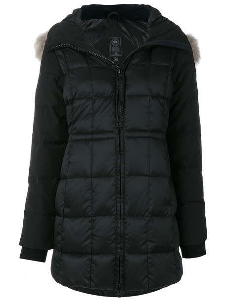 canada goose jacket fur women cotton black