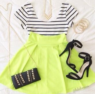 skirt skater skirt crop tops top shirt stripes striped top white crop tops neon short skirt shoes
