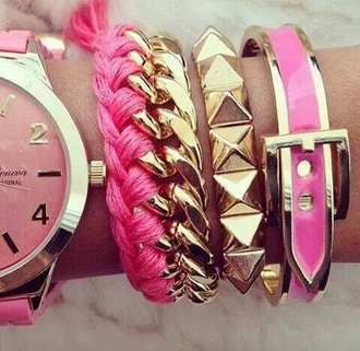 gold jewels clock watch pink braclet accsesorize lovely chain