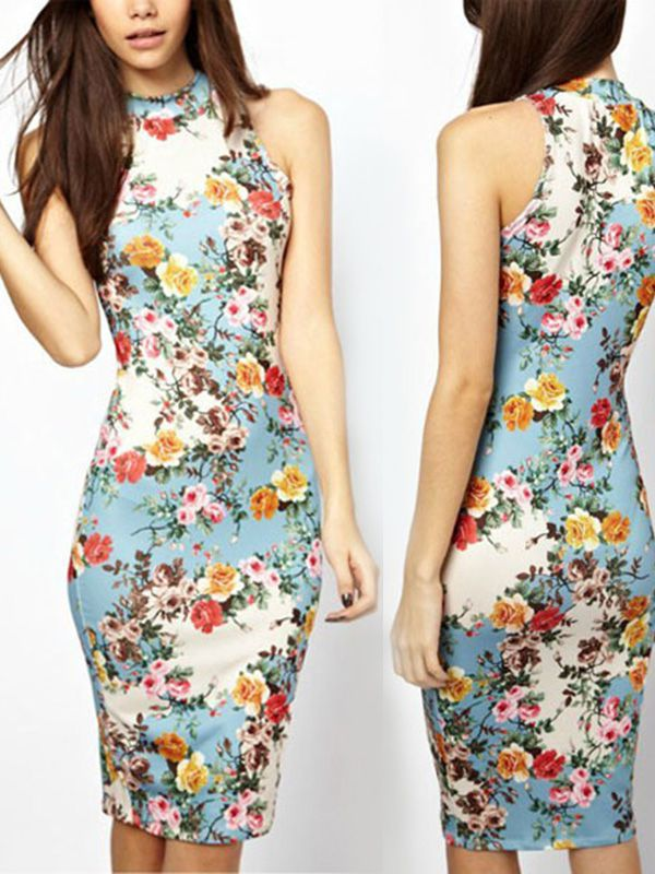 Knee length sheath high neck fashion vintage bodycon dresses : kisschic.com