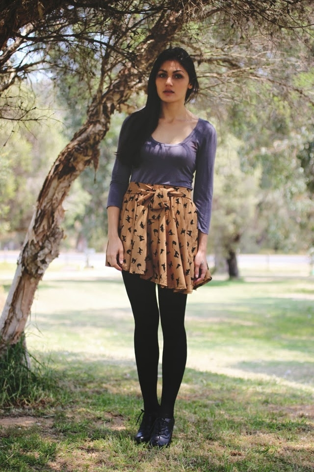 Empire Cat Print Skirt [FMCC0071]- US$ 9.89 - PersunMall.com