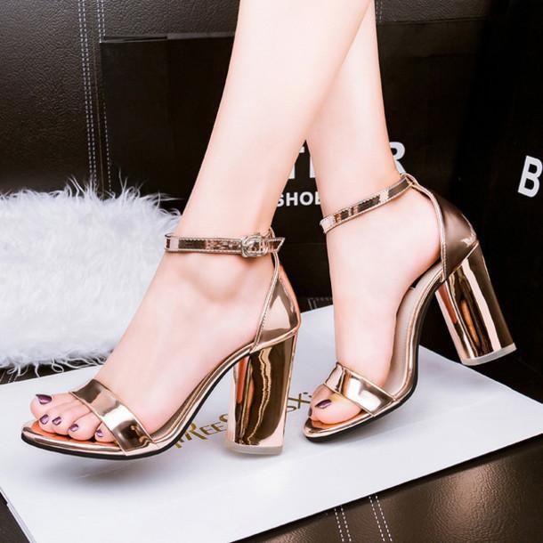 shoes shanghaitrends metallic metallic shoes sandals high heel sandals block heels ss16 copper bronze