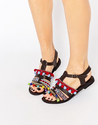 shoes pom poms leather sandals gladiators flats open toes