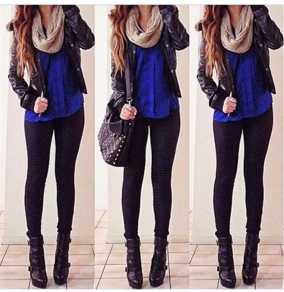 blouse bag jacket scarf shoes