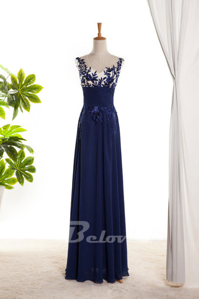 dress blue chiffon prom dress illusion neck prom dress