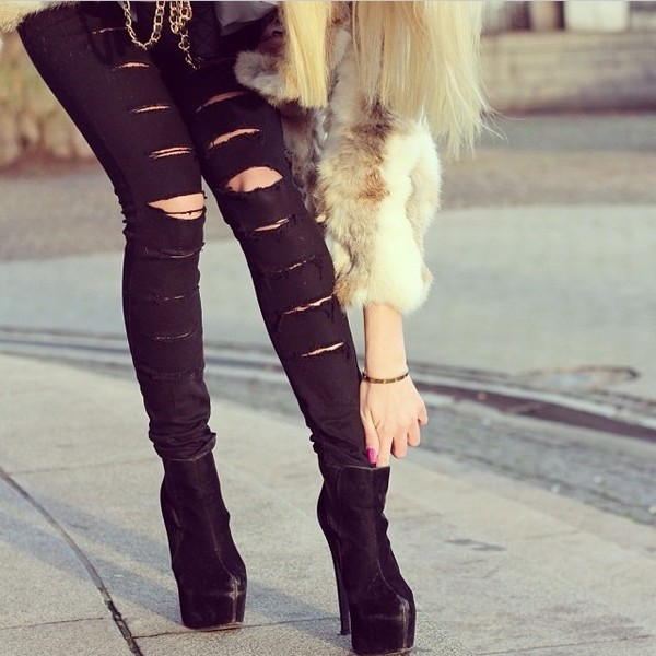 Cool !!! New for Women Black Cotten Denim Punk Ripped Jeans Sexy ...