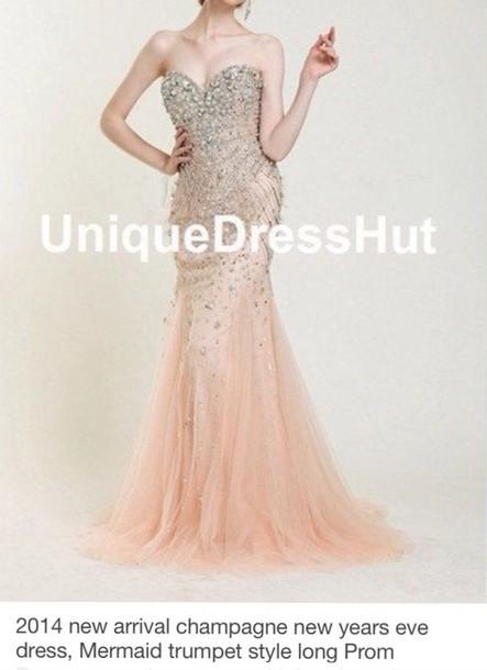 dress champagne new year's eve long dress prom dress mermaid prom dress beaded dress