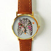 jewels,floral rib cage,watch,handmade,etsy,fashion,style,back to school,summer