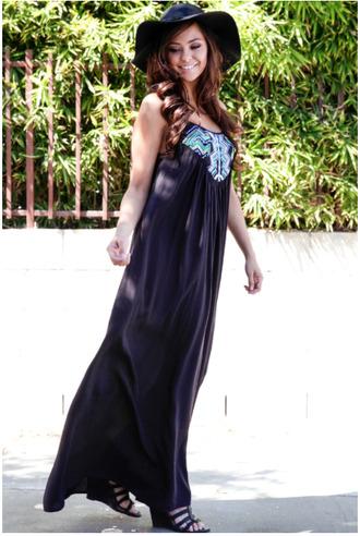 black maxi dress sleeveless dress hipster dresss black sleeveless maxi dress embroidered embroidery dress tribal pattern aztec embroidered maxi dress fedora strappy sandals wedge sandals sandals