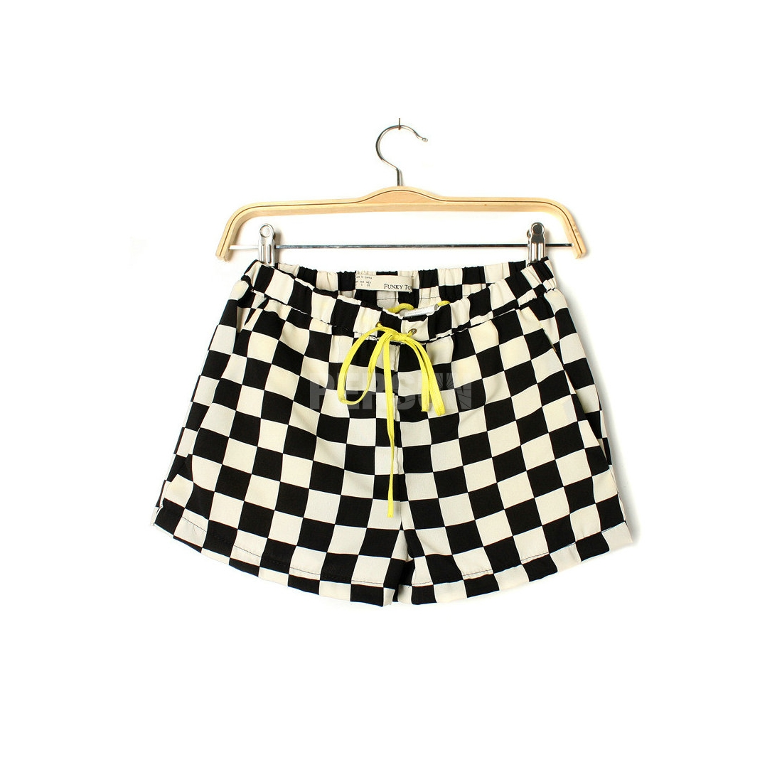 Checkered Mint Cotton Shorts [FJCE0020]- US$ 41.99 - PersunMall.com