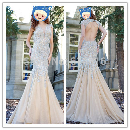 Aliexpress.com : Buy High Quality Customized Trumpet Crystals Beaded Prom Dress 2014 Plunging V Neckline Cap Sleeve Cutout Open Back Maxi Dresses from Reliable dresses prom dress suppliers on Suzhou Babyonlinedress Co.,Ltd