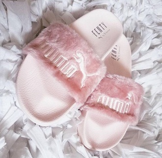 shoes baby pink puma slippers