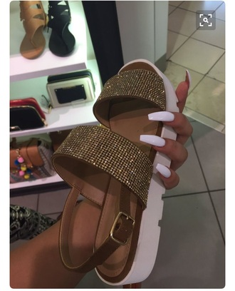 shoes shiny gold sandals gold rhinestones sandals sandals flat sandals white white sandals white shoe gold sandals