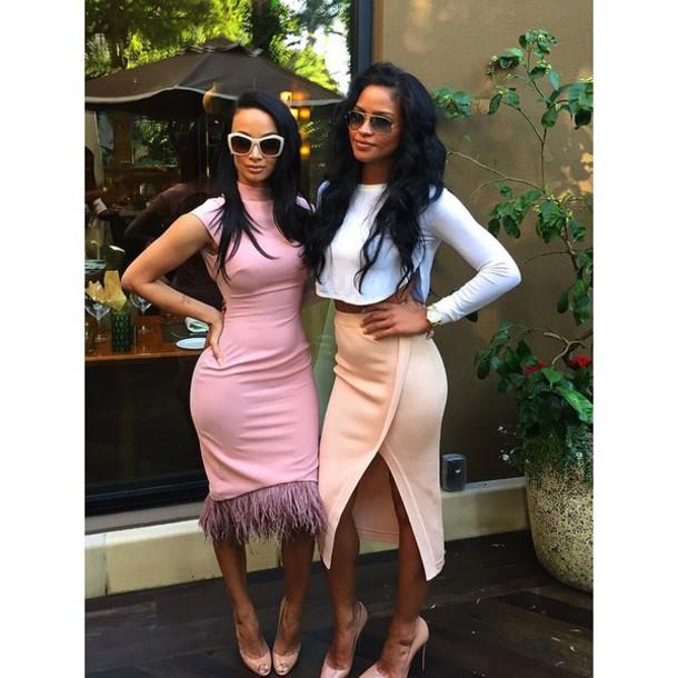 dress draya michele bodycon dress skirt cassie ventura pink dress midi skirt crop tops sunglasses top