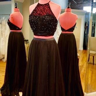 dress prom black beautiful gown fashion style trendy two-piece sparkle dressofgirl