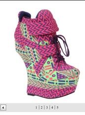 shoes,sneakers,pink,green,heeless,aztec,booties,platform shoes