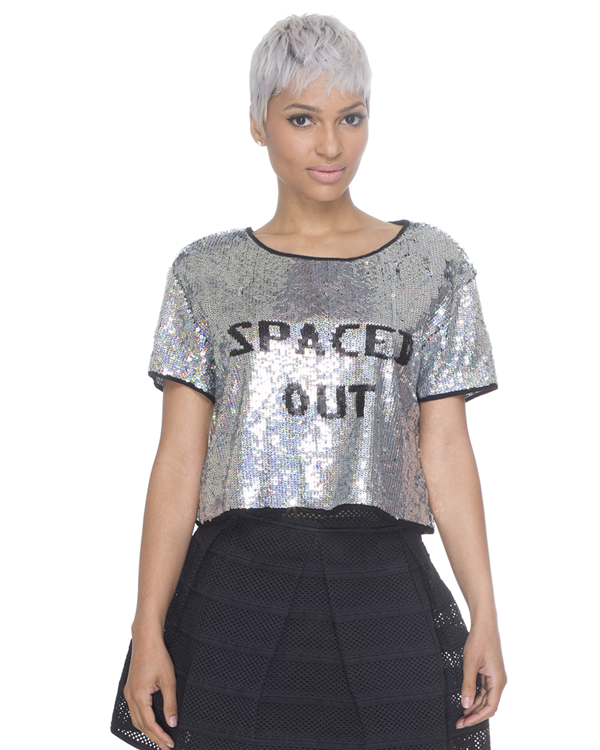 Spaced out sequined crop top – flyjane