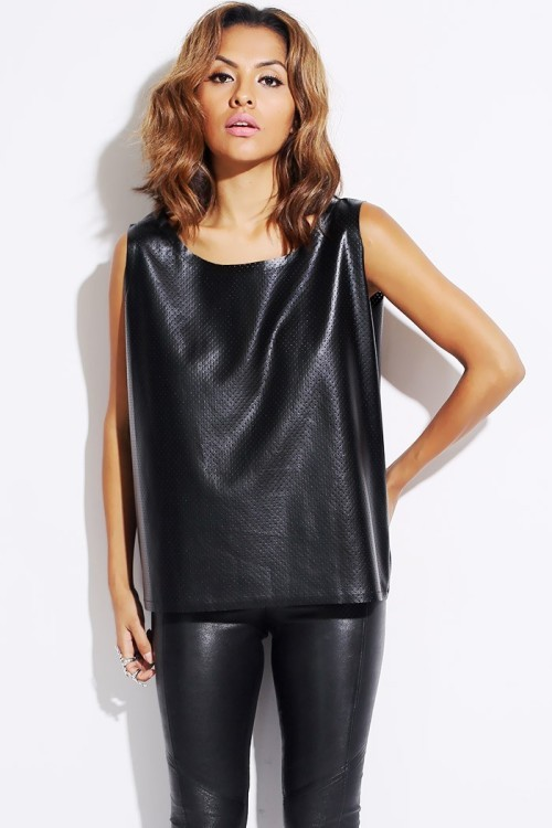 Lethalbeauty ? black faux leather boxy shell tank top