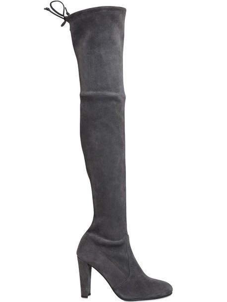 STUART WEITZMAN 90mm Highland Stretch Suede Boots in grey