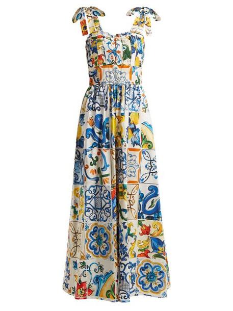 Dolce & Gabbana - Majolica Print Cotton Poplin Jumpsuit - Womens - White Print