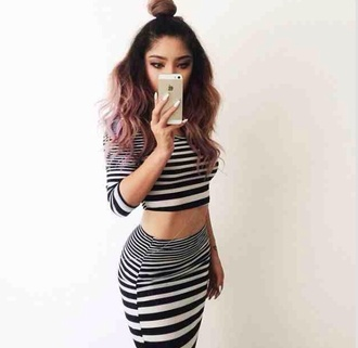 top stripes india love striped shirt skirt two-piece body chain