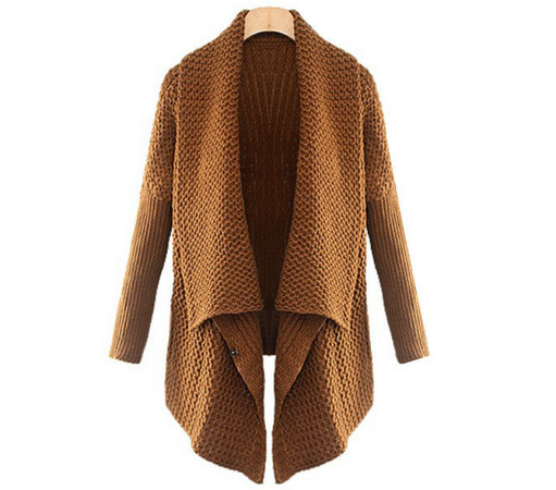 Brown Batwing Long Sleeve Loose Cardigan